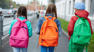 kids walking with backpack